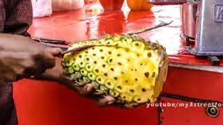 PINEAPPLE JUICE - TRADITIONAL METHOD  -  VASI STATION ROAD - MUMBAI STREET FOOD - 4K VIDEO