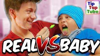 BABY FOOD vs. REAL FOOD CHALLENGE - TipTapTube