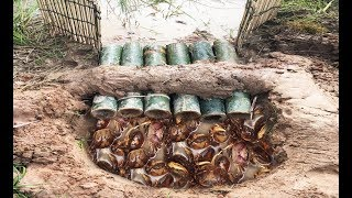 Wow! Smart Man Catch A Lot Of Crabs By Creative Deep Hole Crab Trap Using 6 Bamboo