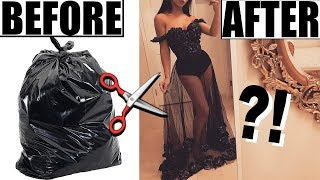 MAKING A DRESS OUT OF TRASH BAGS!