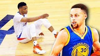 Stephen Curry Breaks Russell Westbrook Ankles! Stephen Curry Drops Russell Westbrook