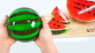 HOW TO MAKE A JELLO WATERMELON !! Diy Gummy Jello Watermelon Slices - Pudding Jelly Monsterkids