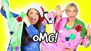 DIY Ugly Christmas Sweater SLIME Challenge! *GONE WRONG*