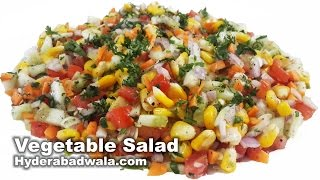 Healthy Vegetable Salad Recipe Video - How to Make Healthy Vegetable Salad at Home - Easy & Simple