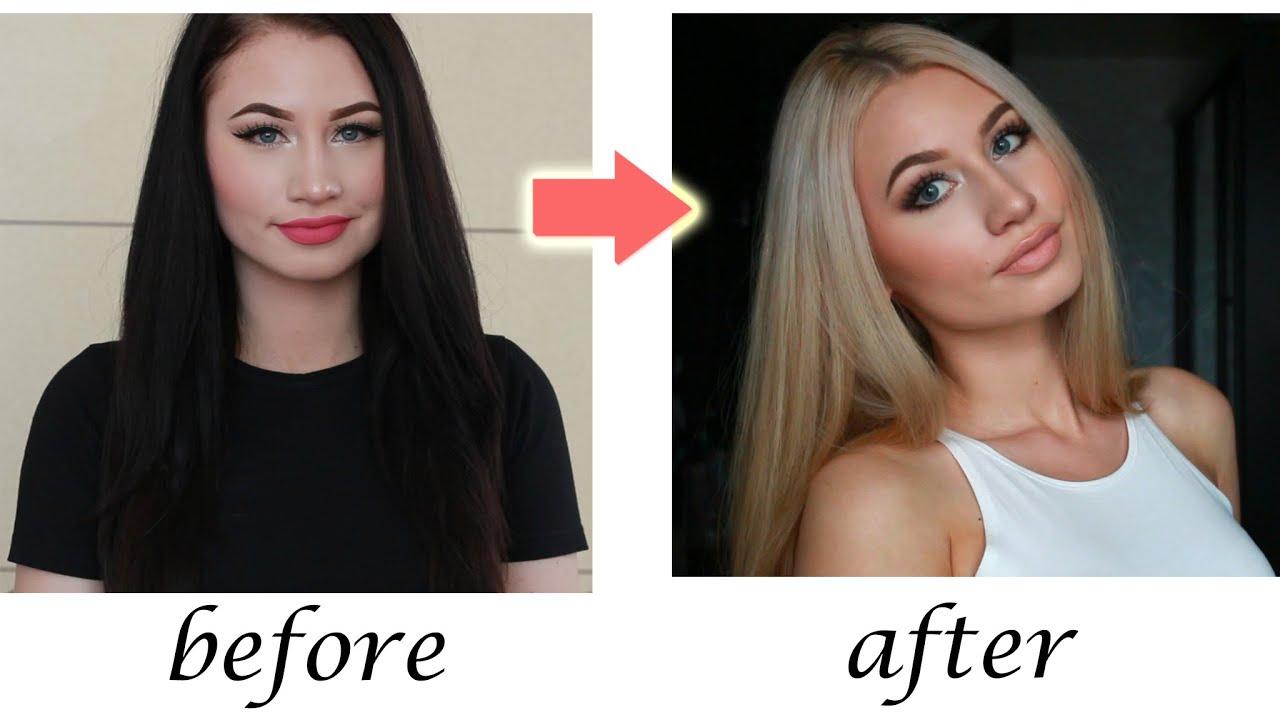 Из брюнетки в блондинку фото в домашних условиях
