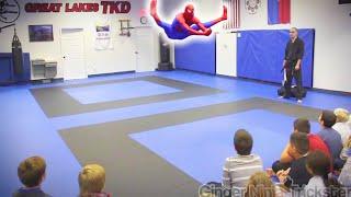 SPIDERMAN Visits Great Lakes TKD | Flips & Kicks
