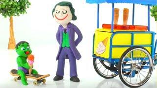Baby Hulk Buys Ice Creams w/ Joker Play Doh Cartoons Stop Motion Animations