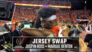 Former high school teammates Markail Benton and Justyn Ross swap jerseys
