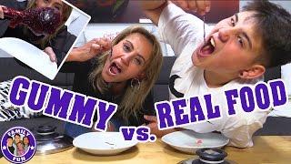 GUMMY VS. REAL FOOD CHALLENGE | ESSEN WIR WÜRMER? | FAMILY FUN