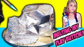 MELTING MY DIAMOND PLAY BUTTON! Learn To Make DIY Gallium Button, LEGO, Minions, Liquid Metal