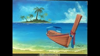 how to paint a boat on the shore (Acrylic)