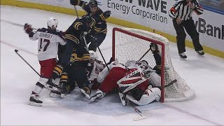 Sabres pile on top of Bobrovsky & puck so referees say no goal