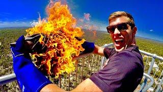 FLAMING ANVIL VS. FIRE EXTINGUISHER! (45m DROP TEST)