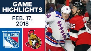 NHL Game Highlights | Rangers vs. Senators - Feb. 17, 2018