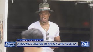 Cam dodging cameras at Panthers training camp