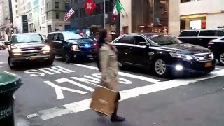 The United States Secret Service Escorting Bernie Sanders Along 5th Ave In Manattan, NY