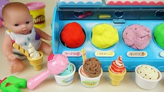 Baby Doll Ice cream shop and Play Doh ice cream toys