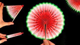 Basteln mit Papier: Wassermelonen Fächer selber machen - DIY Life Hacks gegen Langeweile: Geschenk