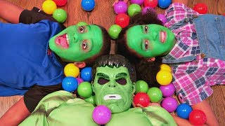 Bad Baby Hulk vs Real Hulk Food Fight! - Shiloh And Shasha Green Face Grinch Prank - Onyx Kids