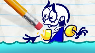 "Pencilmate Nearly Drowns! -in- ""Puddle Puzzle"" Pencilmation Cartoons ~ Animation for Kids"