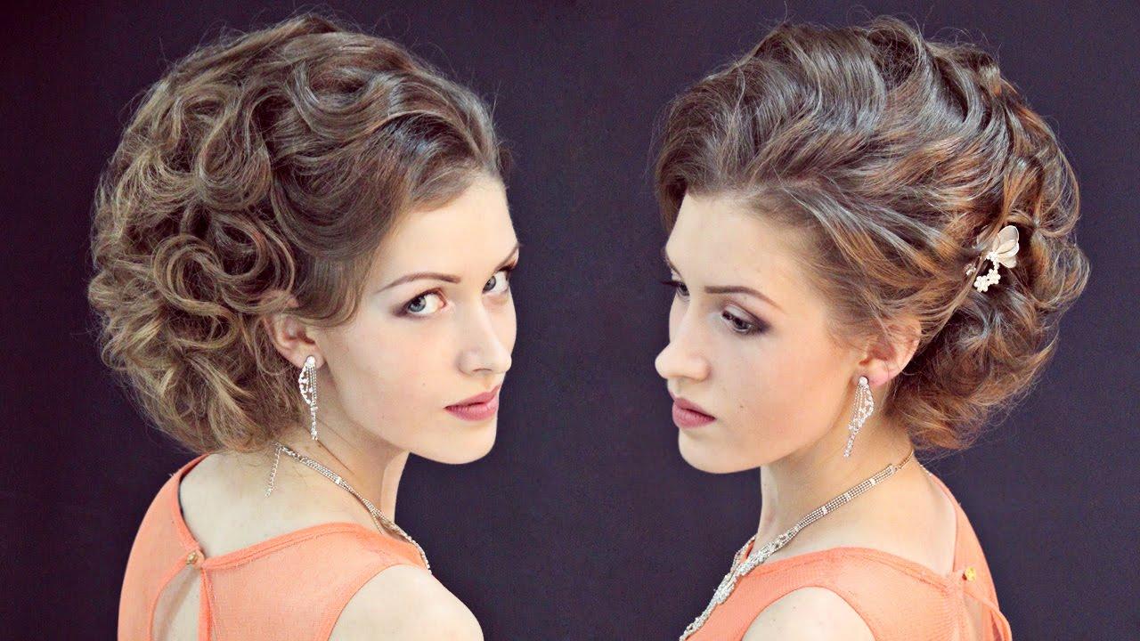 Вечерние прически для средних волос с укладкой фото