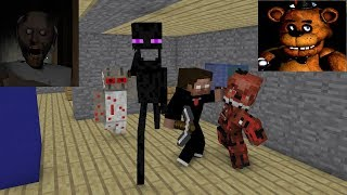 Monster School : GRANNY & FNAF HORROR CHALLENGE - Minecraft Animation