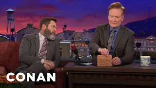 Nick Offerman Brings Conan A Gift From His Woodshop  - CONAN on TBS