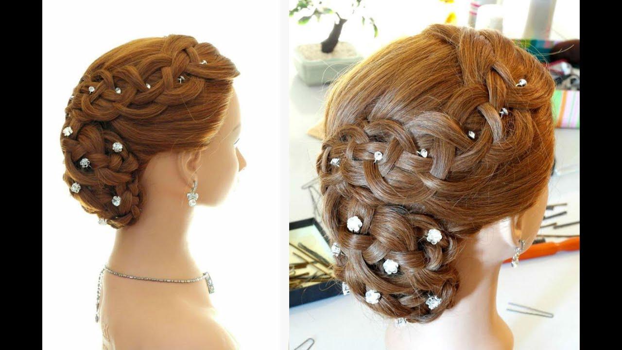 вечерние прически с плетением на средние волосы с челкой фото