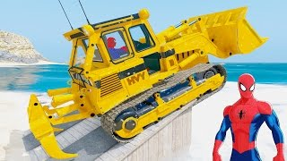 Learn Number Cars And Colors Excavator With Spiderman Family Nursery Rhymes For Kids