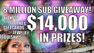 WIN $14,000 IN PRIZES! - 8 Million Sub Giveaway!   GRAV3YARDGIRL
