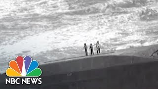 Dramatic Helicopter Rescue From Ship Capsized By Hurricane Maria | NBC News