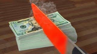 $10.000 VS EXPERIMENT Glowing 1000 degree KNIFE // MrGear vs TARGET