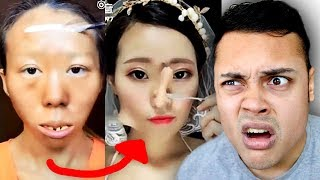 REACTING TO VIRAL ASIAN BEST MAKEUP TRANSFORMATION VIDEOS