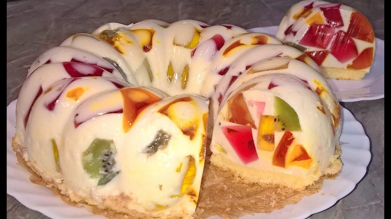 Торт бисквитный с сметанным желе
