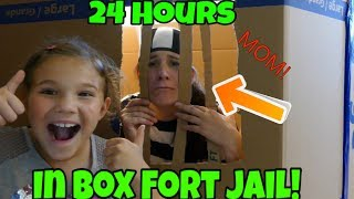 24 Hours In Box Fort Jail! Mom Goes To Box Fort Jail Overnight!