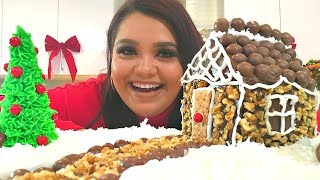 DIY Edible Snow Slime + How To Make A Holiday Cake Cottage!