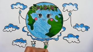 save earth cartoon drawing step by step for kids save water save