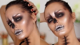 Easy & Glam GLOSSY SKULL Halloween Makeup Tutorial