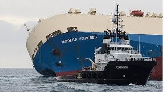 """سحب سفينة """"مودرن إكسبرس"""" يجنب المحيط الأطلسي كارثة بيئية"""