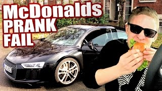 McDonalds PRANK FAIL - AUDI R8 2016 Rich Kid - McDonalds Roulette