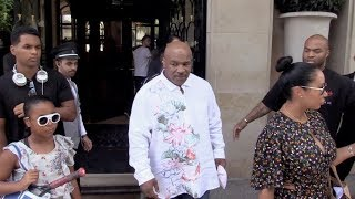 EXCLUSIVE : Zombie like Mike Tyson coming out of his hotel in Paris