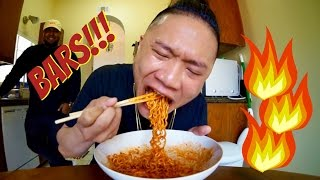 FREESTYLE WHILE DOING SPICY RAMEN CHALLENGE