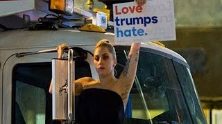 Lady Gaga Protests Outside Trump Tower Following Election Results