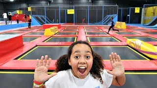 TRAMPOLINE PARK! Wipeout Challenge |  Family Fun Video