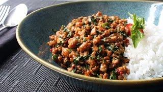 Spicy Thai Basil Chicken (Pad Krapow Gai) - How to Make Spicy Basil Garlic Chicken