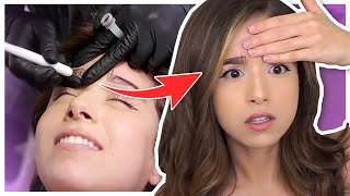 Pokimane gets her first Tattoo | Eyebrow Microblading
