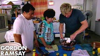 Gordon Ramsay Helps Prepare Food For A Malaysian Dinner Party   Gordon