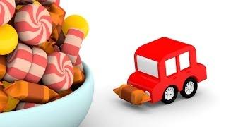 Lehrreicher Zeichentrickfilm - Die 4 kleinen Autos - Wir bauen einen Turm aus Süßigkeiten