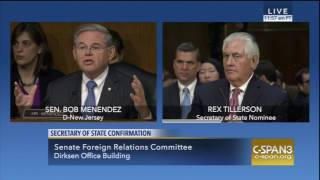 Menendez Questions Tillerson on Exxon Lobbying, Building a Wall with Mexico, and Cuba Relations