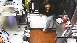 Diese Hungrige Amerikanerin beraubt McDonald's -  Unfassbare Videoaufnahmen!